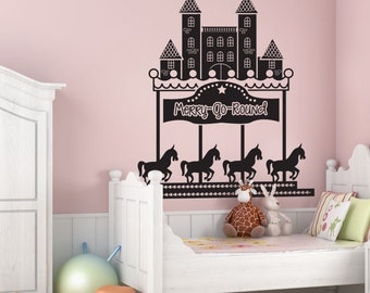 Vinyl Wall Decal Sticker Merry Go Around OSDC566m