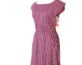 Vintage NOS New Old Stock Deadstock Plaid Tartan Holiday Christmas Style Party Dress / Dress / Dresses / Vintage Christmas / 1472