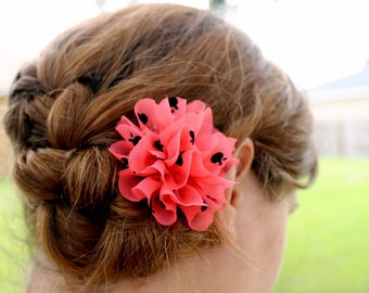 Ruffled Coral Bloom Clip 2 Styles to Choose From Ladies Hair Accessory Little Girls Hair Accessory Floral Hair Clip Floral Hair Accessory