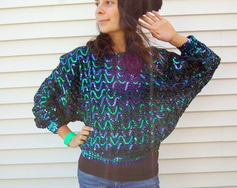 Vintage 80s Slouchy Blue and Green Sequin Batwing Top Blouse