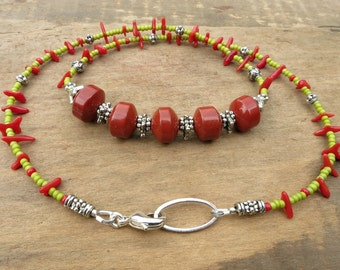 Colorful Exotic Bohemian Necklace in lime green and red, funky tropical tribal necklace with red coral and jasper, beach ocean island style
