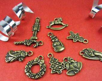 Tierracast Brass Oxide Christmas Charm Set