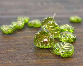 Czech Glass Olivine Heart Leaves with Gold Inlay (12 pcs)