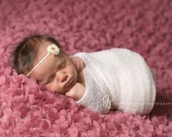 baby headband, Newborn headband, Tiny Petite Cream Peach Flower, Skinny Elastic Headband Photography Props, Flower Girls