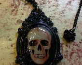 Gothic Victorian Skull Cameo Resin Pendant