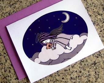 sleeping dark angel christmas holiday cards / notecards / thank you notes (blank or custom printed inside) with envelopes - set of 10