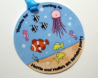 under the sea custom personalized birthday costume party gift favor tags with coordinating ribbon - set of 12