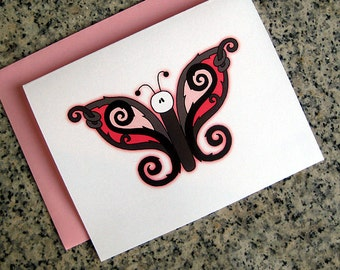 goth butterfly notecards / thank you notes (blank or custom printed inside) with pink envelopes - set of 10