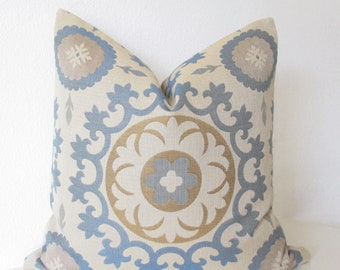 Roman Circle blue gold suzani medallion 20x20 decorative pillow cover