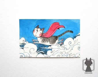 Super cat flying above clouds - original watercolor illustration - cat in cape on blue sky - cat art