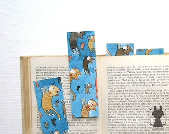 Hand painted watercolor bookmark - Super cats - flying cat - cat bookmark