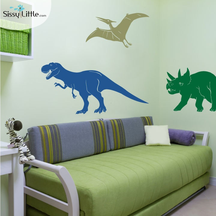 Medium dinosaur set t rex pterodactyl triceratops vinyl for T rex bedroom decor