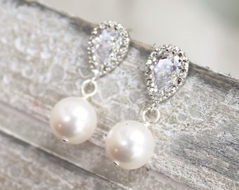 Bridal earrings, simple pearl and rhinestone drop, wedding bridal jewelry