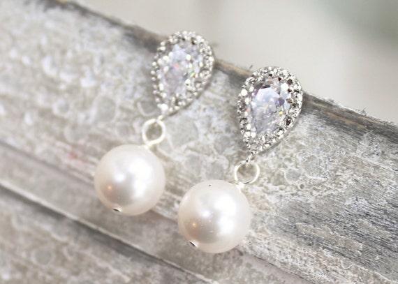 Bridal earrings, simple pearl and rhinestone drop, wedding bridal jewelry