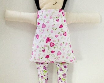 Cute Handcrafted Fabric doll traditional kawaii pink heart flowers dress