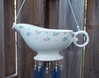 Gravy Boat Repurposed and Upcycled into a Windchime with Stained Glass Chimes