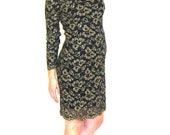 Vintage 1980's Metallic Floral Sheer Netted Dress with Scalloped Neck and Long Sleeves by Molly Malloy for All That Jazz Women's Size 8
