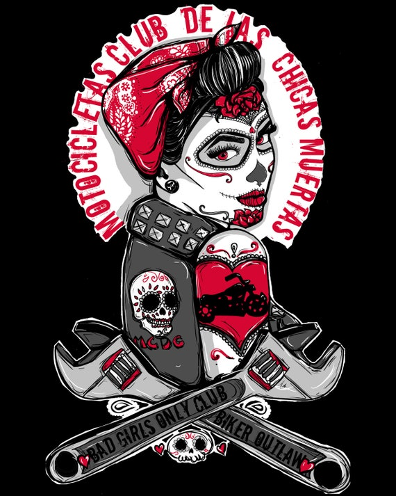 Rockabilly pin up girl biker tattoo flash day of the dead for Pin up tattoo flash