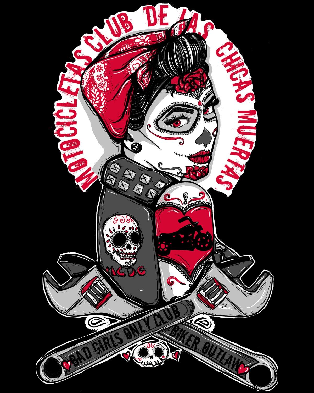 rockabilly pin up girl biker tattoo flash day of the dead. Black Bedroom Furniture Sets. Home Design Ideas