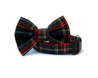 Designer Plaid Bow Tie Dog Collar - Kensington Plaid - Black Hardware