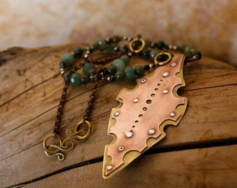 Nibbled Leaf Necklace in Recycled Copper, Brass, Sterling Silver, and Green Gemstones, One-off Jewelry by FullSpiral