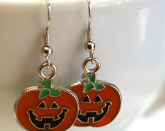 Orange Pumpkin Enamel Charm Earrings - Fall Halloween Jewelry - Jack 'O Lantern Earrings, Teacher Earrings