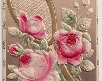 Antique Ephemera Greeting Roses Old Postcard - Tennis Racket or Mirror surrounded by Soft Pink and Red Floral Rose Bouquet Antique Postcard