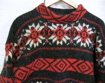 Vintage 1970's WOOLRICH Wool Nordic Sweater