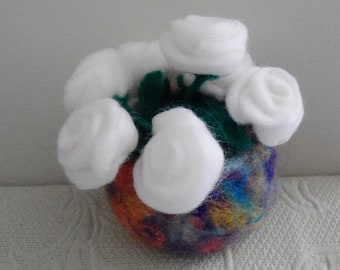 Wool roses in bowl needle felted 5 inches high