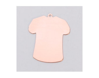 TShirt Blank Copper  24ga- Less than 1 inch w/RING- PK/6-Great for your Jewelry Stamping-Stamping Blanks for Personalized Jewelry-MET-560.70