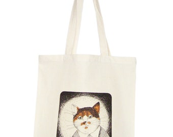 Cat in a Knitted Jumper shopping bag, reausable eco tote