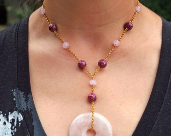 Jade Quartz stone purple gold plated pink metal birthday for her rose lariat beaded beadwork ruby pastel gift magenta luck Chinese circle