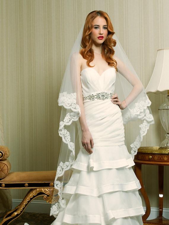 Items similar to Wedding Veil - Waltz Drop Two-Tier ...