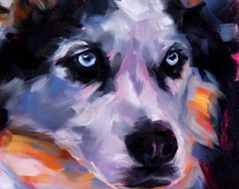 Winter dog art Siberian Husky oil painting pet portrait original one of a kind for dog lovers