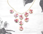 Colorful Statement necklace, Pastel colorful mother of pearl necklace, Aquarelle blooming garden necklace, Sweet pastel necklace
