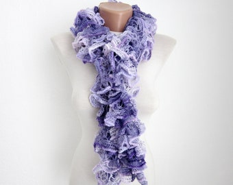 Knit Frilly Scarf, Ruffle Scarf, Frilly Scarf, Lace Sashay Scarf