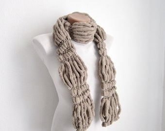 Knit Scarf,Brown Pompom Scarf,Mulberry Scarf,women scarf
