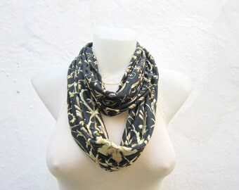 Infinity Scarf, Flower Pattern, Loop Necklace Scarf, Neckwarmer, Circle  Scarves, Floral Accessories, Neck Wrap, Black, Yellow