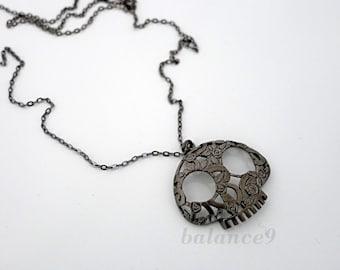 Skull necklace, halloween gift, suger skull jewelry, Gunmetal black, day of the dead charm pendant, flower skull, by balance9