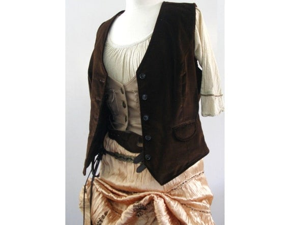 Brown Vintage Velvet Vest - Pirate / Victorian / Steampunk Mens or Womens Costume