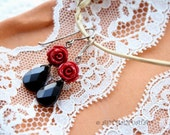 Retro inspired earrings, red rose and black drop, 925 sterling silver