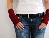 Red wrist warmers, fingerless mittens, hand-crocheted & ready to ship