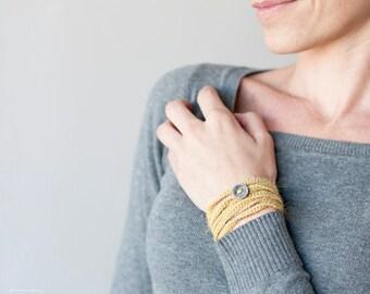 Bracelet 4 wrapped. Crochet Bracelet wool.  Mustard Color. Textile Jewelry. Coiled bracelet.Crochet Jewelry.Friendship Bracelet.Eco-Friendly