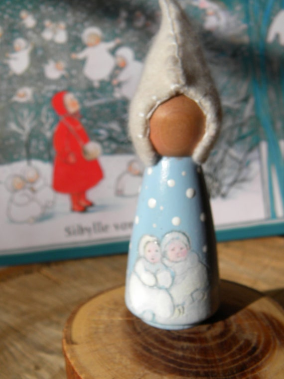 Waldorf Snow Children Peg Doll Story Doll Hand Painted Wool