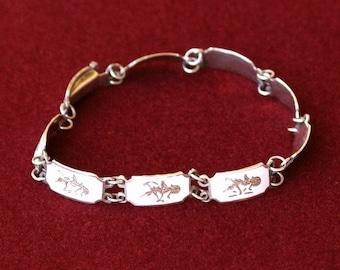 Siam Silver Bracelet White Enamel, 7 Inches, Vintage Thailand, Mekkala & Ramasoon