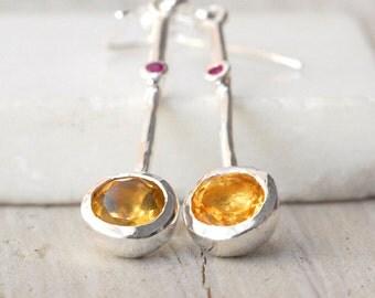 Citrine Long Drop Earrings, Minimalist Yellow Citrine Gemstone Silver Earrings, November Birthstone Earrings Gift for Her, Citrine Jewelry