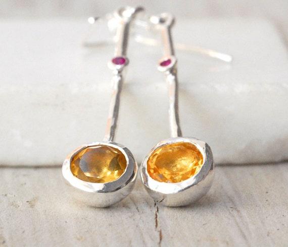 Yellow Citrine Earrings, Sterling Silver Long Drop Earrings, November Birthstone Gift, Bridal Earring, Minimalist, Golden Sparkles & Rubies