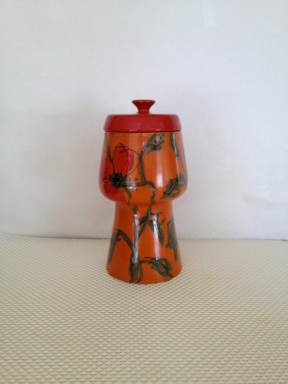 SALE Mid-Century Raymor Urn Vessel Canister Jar with Lid, Orange & Red Floral, Made in Italy