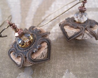 Wine Cork Earrings with Amber Rondelles, Antique Bronze and Copper Accents - Repurposed Wine Cork