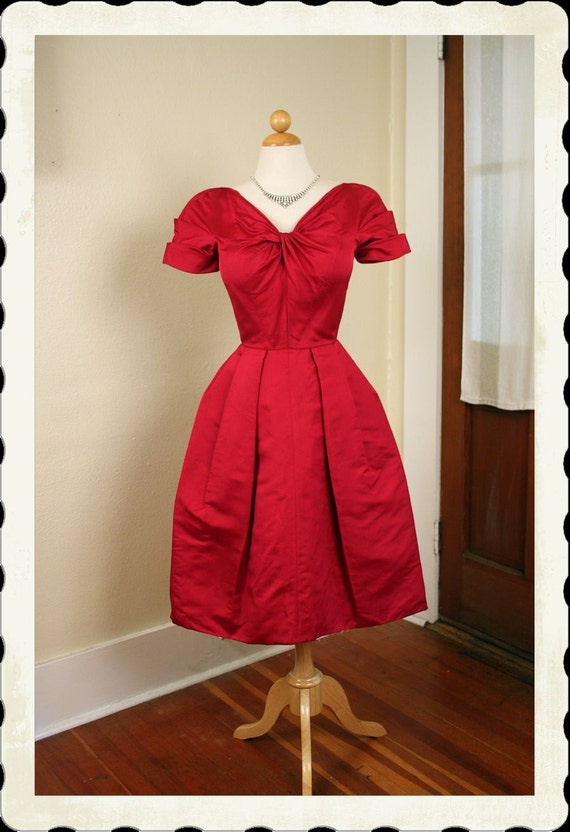 COUTURE 1950's New Look Structured Rich Raspberry Satin Party Dress w Tulip Style Skirt & Detail Pleated Knot Bust - VLV - Holiday - Size S